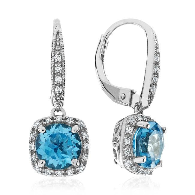3.45 Carat Genuine Swiss Blue Topaz Earrins in Sterling Silver