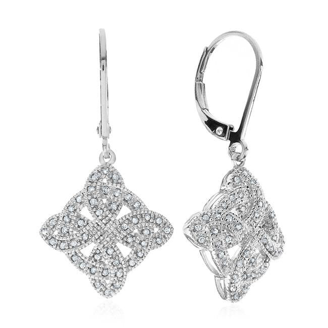 1/4 Carat Diamond Celtic Cross Earrings in Sterling Silver