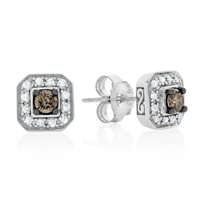 1/3 Carat Champagne & White Diamond Stud Earrings in Sterling Silver