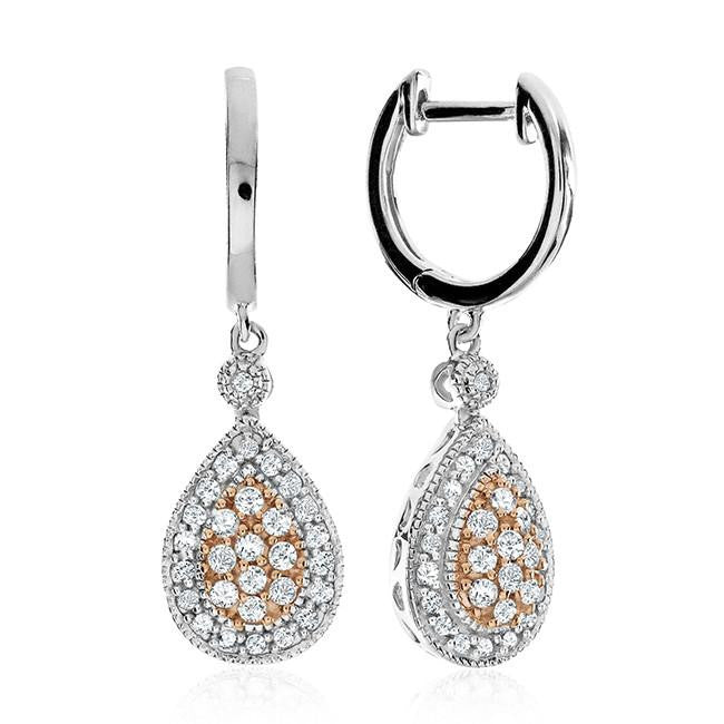 1/2 Carat Two-Tone Sterling Silver Diamond Dangle Earrings
