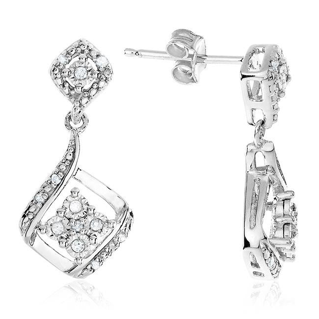 Diamond Miracles: 0.10 Carat Diamond Dangle Earrings in Sterling Silver