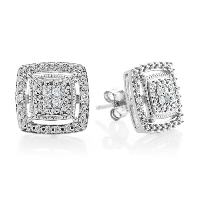 0.10 Carat Diamond Square Stud Earrings in Sterling Silver