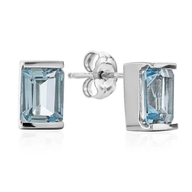 Emerald Cut Blue Topaz in Sterling Silver