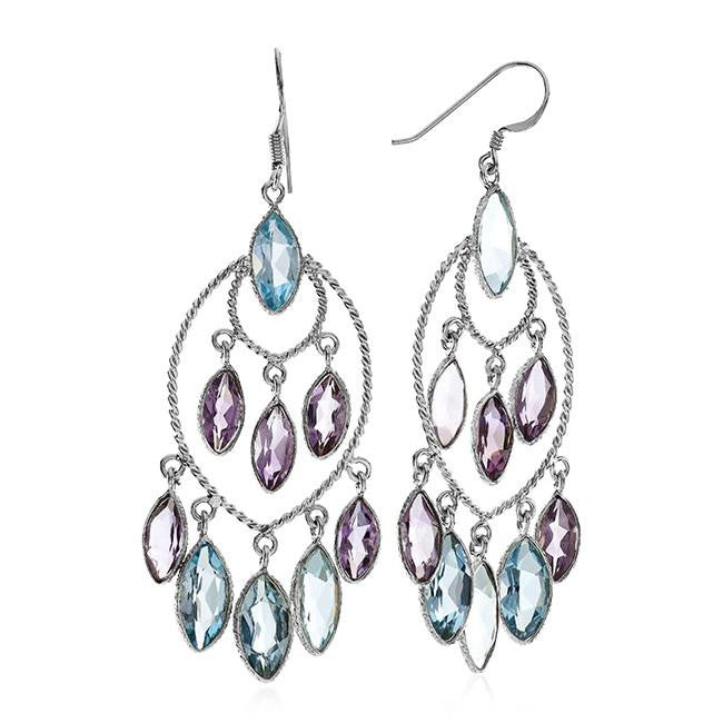 25.50 Carat Genuine Blue Topaz & Amethyst Chandelier Earrings In Sterling Silver