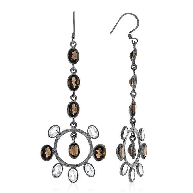 14.50 Carat White Topaz & Smoky Quartz Earrings In Black Rhodium Sterling Silver