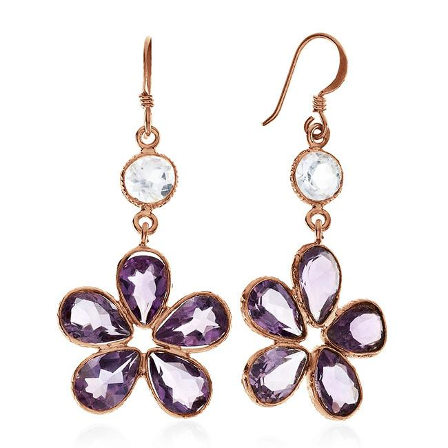 11.60 CTW Amethyst & Aquamarine Earrings In 10K Rose Gold Over Sterling Silver
