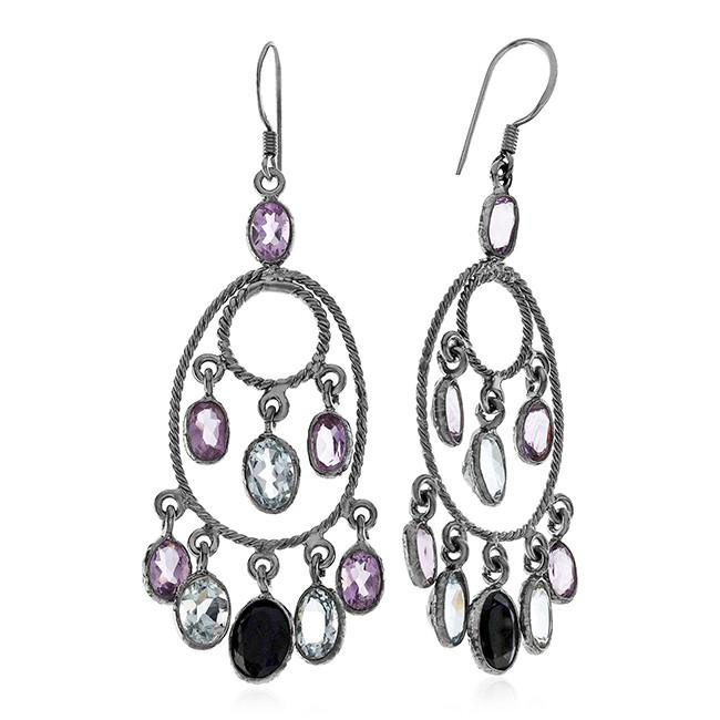 10.00 CTW Multi-Color Gemstone Dangle Earrings In Black Rhodium Sterling Silver