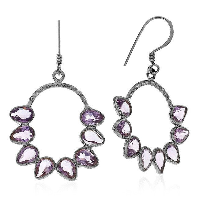 5.50 Carat Genuine Amethyst Drop Earrings In  Sterling Silver
