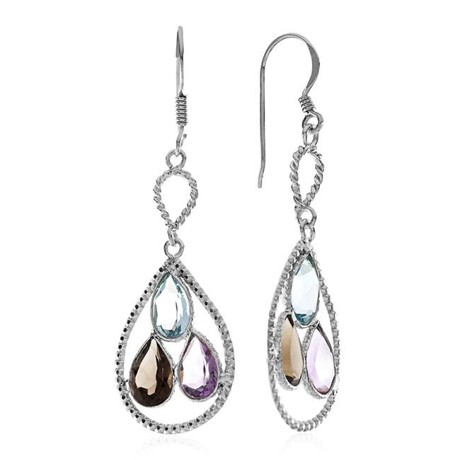 8.00 Carat Genuine Multi-Color Gemstone Drop Earrings In Sterling Silver