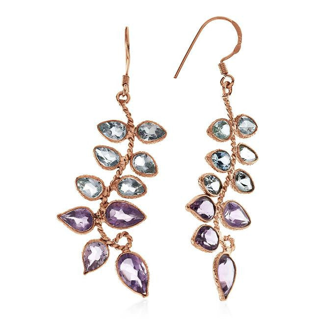 11.65 CTW Amethyst & Blue Topaz Earrings In 10K Rose Gold Over Sterling Silver