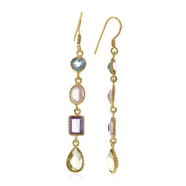 10.00 CTW Multi-Color Gemstone Earrings In 10K Yellow Gold Over Sterling Silver