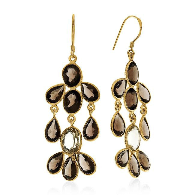 17.5 CTW Citrine & Smoky Quartz Earrings In 10K Yellow Gold Over Sterling Silver