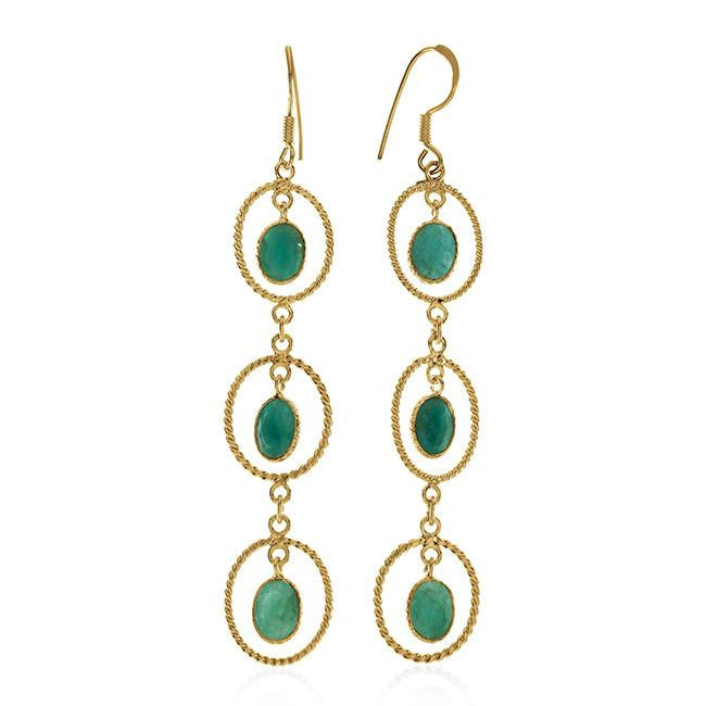 5.70 Carat Genuine Emerald Earrings In 10K Yellow Gold Over Sterling Silver