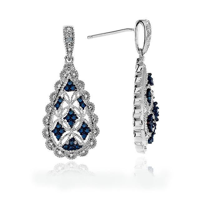 Blue & White Diamond Teardrop Earrings in Sterling Silver