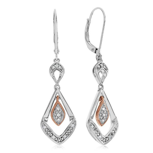 0.05 Carat Diamond Earrings in Two-Tone Sterling Silver