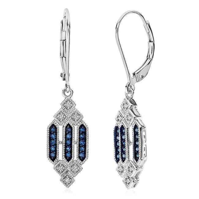 0.20 Carat Blue & White Diamond Earrings in Sterling Silver