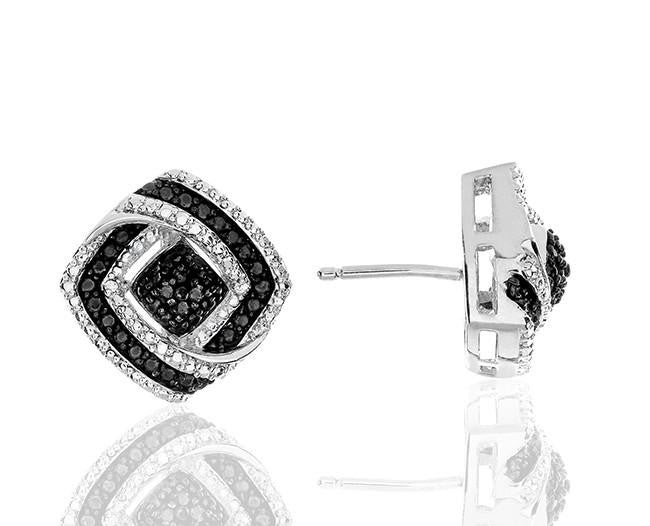 0.07 Carat Black & White Diamond Earrings in Sterling Silver
