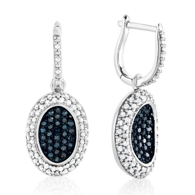 1.05 Carat Blue & White Diamond Earrings in Sterling Silver
