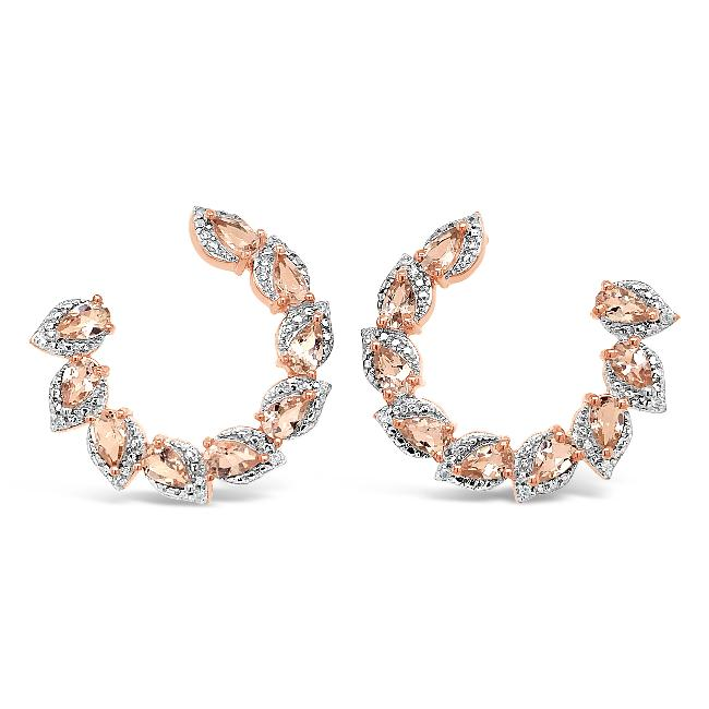 3.04 Carat Genuine Morganite & White Zircon Earrings in 18K Rose-Gold Plated Sterling Silver