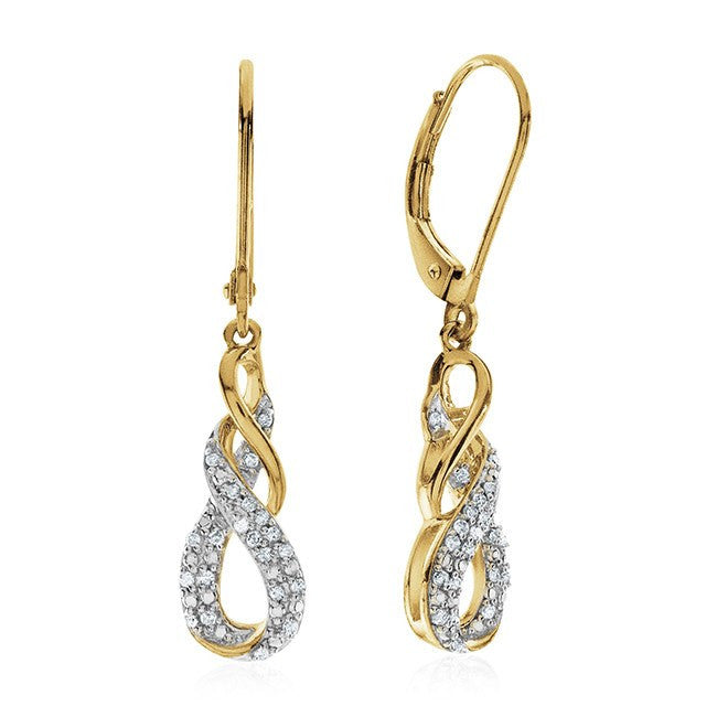 Diamond Infinity Dangle Earrings In Yellow Gold Over Sterling Silver
