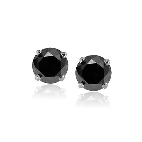 1/5 Carat Black Diamond Stud Earrings in Sterling Silver