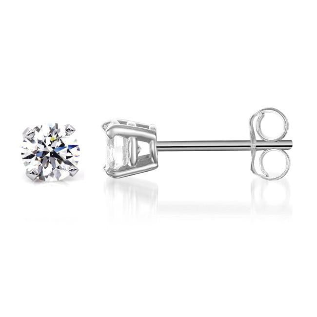 1/5ctw Round Diamond 4-Prong Stud Earrings in Sterling Silver (H-I,I2-I3)