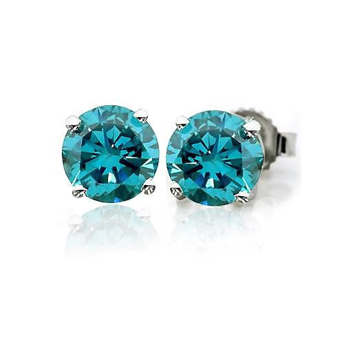 0.33 Carat Blue Diamond Stud Earrings in Sterling Silver