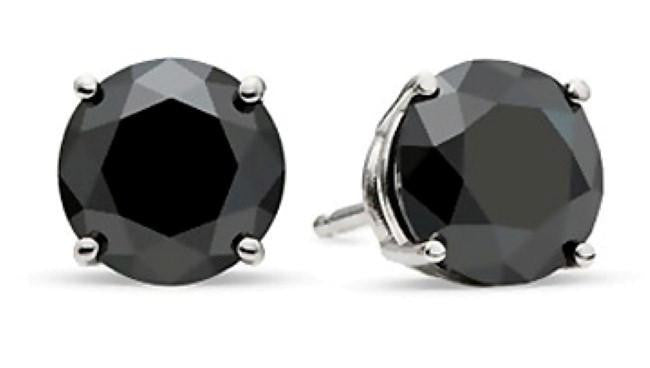 1.50 Carat Round Black Diamond Stud Earrings in Sterling Silver 4-Prong Basket Settings