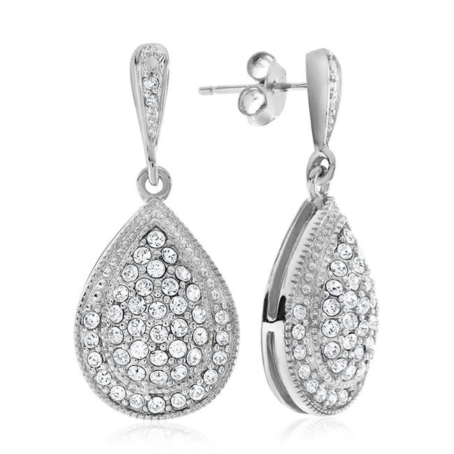 0.02 Carat Diamond and White Swarovski Elements Earrings in Sterling Silver