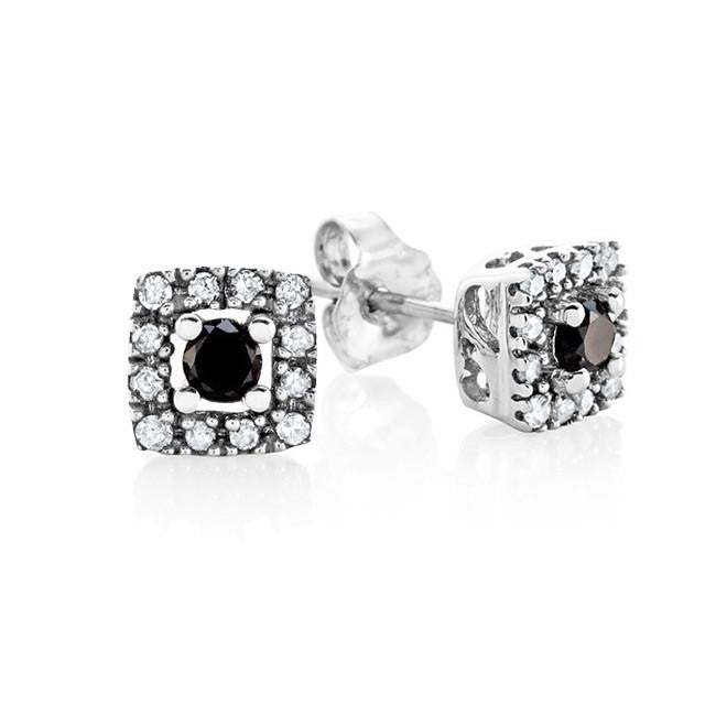 1/4 Carat Black & White Diamond Earrings in Sterling Silver