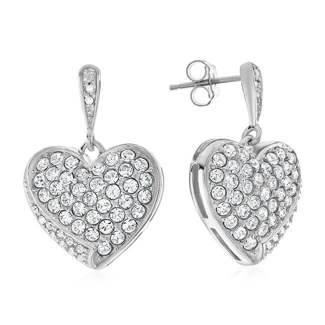 0.02 Carat Diamond and White Swarovski Elements Heart Earrings in Sterling Silver