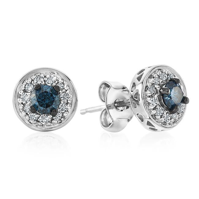 0.33 Carat Blue and White Diamond Stud Earrings in Sterling Silver