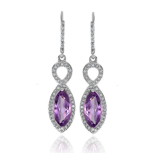 3.00 Carat Genuine Amethyst and White Topaz Marquise Earrings in Sterling Silver