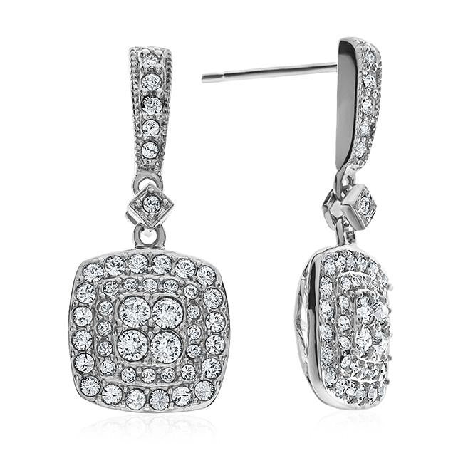 Diamond Accent & Crystal Square Earrings in Sterling Silver