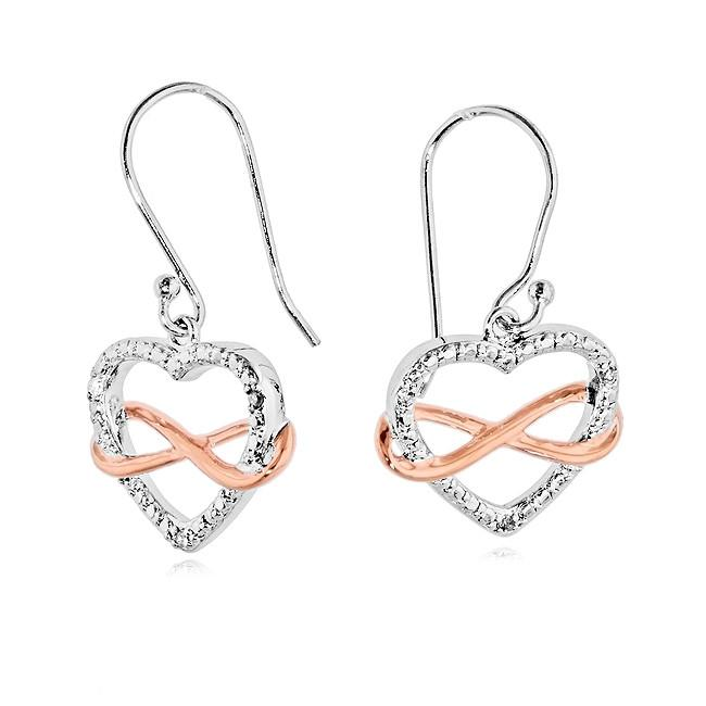 Diamond Accent Two Tone Infinity Heart Dangle Earrings in Sterling Silver
