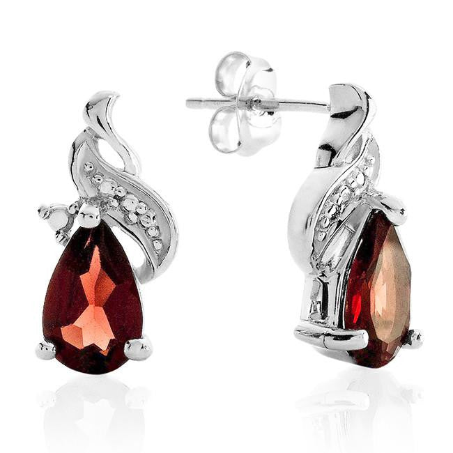 2.00 Carat Genuine Garnet Earrings in Sterling Silver