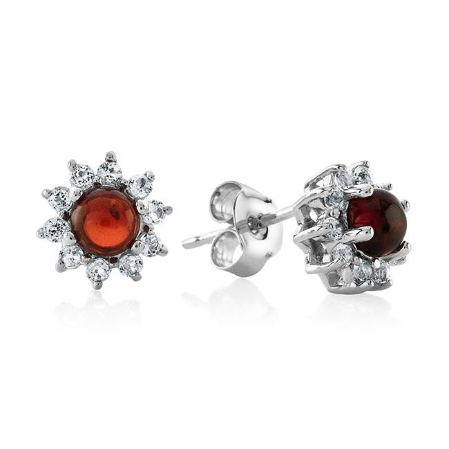 0.45 Carat Cabochon Garnet and White Topaz Flower Stud Earrings in Sterling Silver