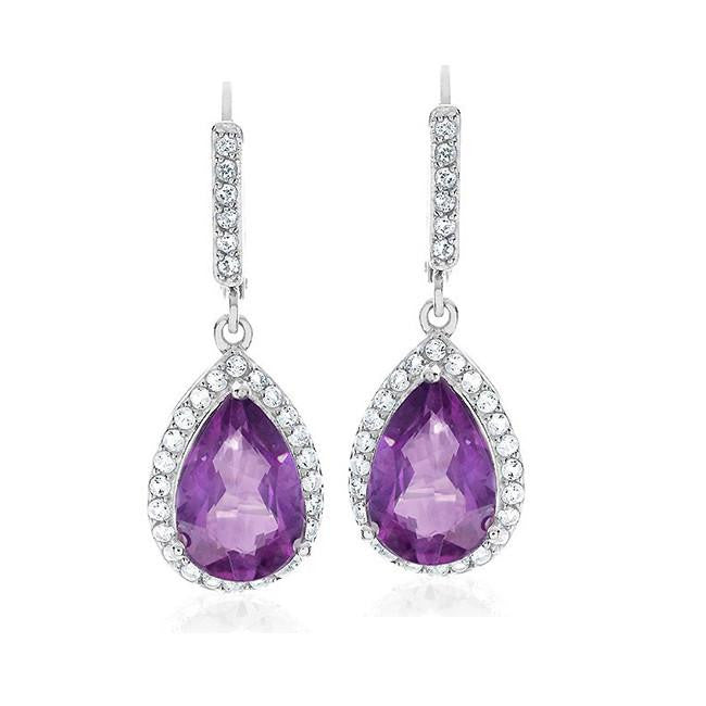 4.00 Carat Genuine Amethyst & White Topaz Earrings in Sterling Silver