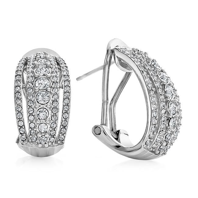 Diamond Accent & White Crystal Earrings in Sterling Silver