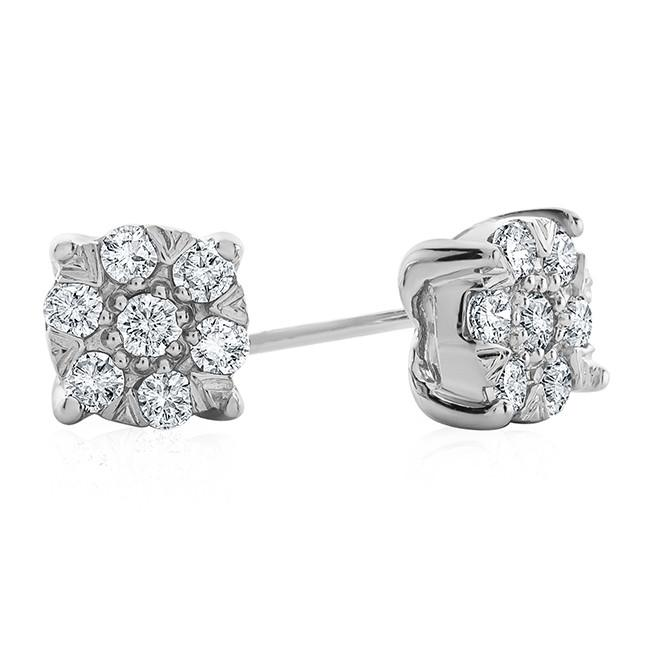 Diamond Accent & Cubic Zirconia Cluster Earrings in Sterling Silver