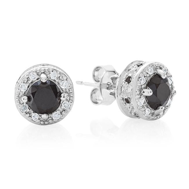 1.00 Carat Black & White Diamond Stud Earrings in Sterling Silver