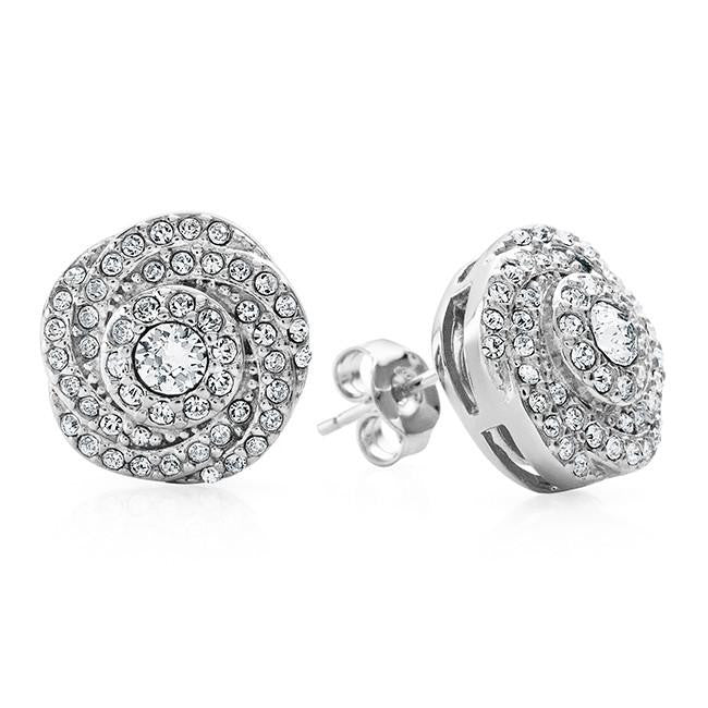 Swarovski Elements With Diamond Accent Swirl Flower Earrings In Sterling Silver