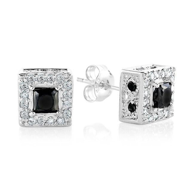 1.00 Carat Black and White Diamond Stud Earrings in Sterling Silver