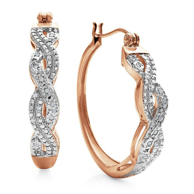 Diamond Accent Hoop Earrings in Rose-Gold Plated Sterling Silver
