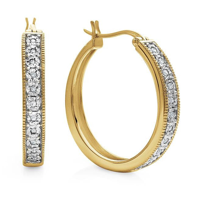 Diamond Accent Hoop Earrings in Gold-Plated Sterling Silver