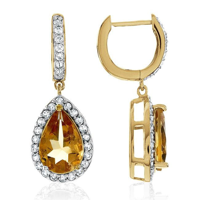 7.30 Carat Genuine Citrine & White Topaz Teardrop Earrings in 14K Yellow Gold Over Silver