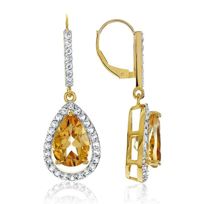 7.35 Carat Genuine Citrine & White Topaz Teardrop Earrings in 14K Yellow Gold Over Silver