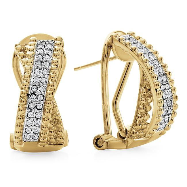 Diamond Accent & Crystal Crossover Earrings in Gold-Plated Sterling Silver