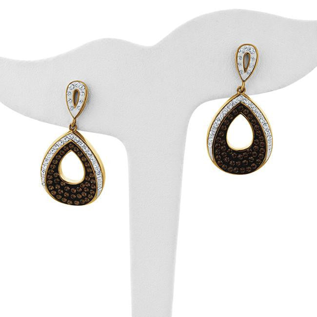 Brown & White Crystal Drop Earrings in Gold-Plated Silver