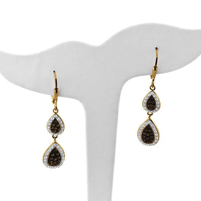 Brown & White Crystal Double Teardrop Earrings in Gold-Plated Silver